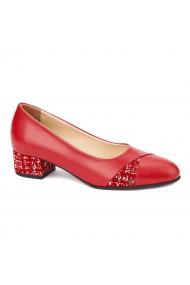 Pantofi dama toc mic din piele naturala rosie 4370