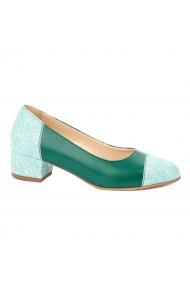 Pantofi dama toc mic din piele naturala verde 4348