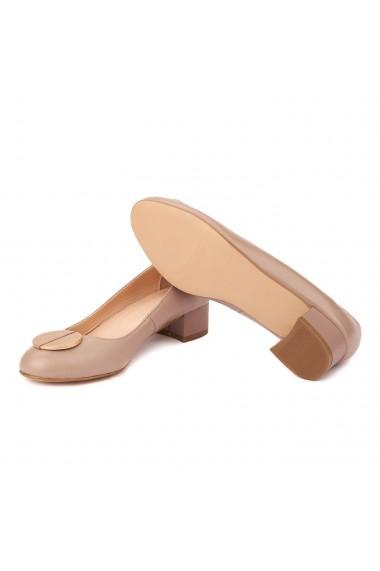 Pantofi dama din piele naturala cu toc mic 4458
