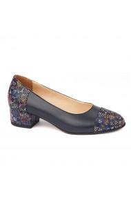 Pantofi cu toc mic din piele naturala albastra 4484
