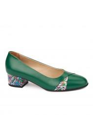 Pantofi verzi cu toc mic din piele naturala 4489