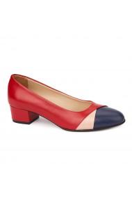 Pantofi rosii cu toc mic din piele naturala 4493