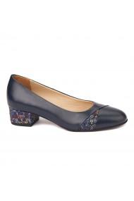 Pantofi bleumarin cu toc mic din piele naturala 4495