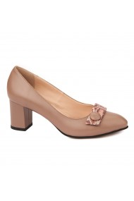 Pantofi cu toc dama din piele naturala 4506