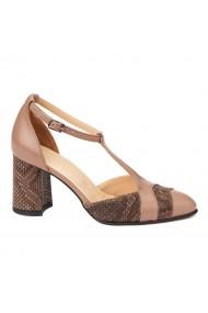 Sandale elegante din piele naturala cu toc gros 5289