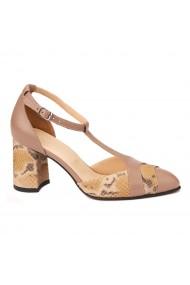 Sandale elegante din piele naturala cu toc gros 5290