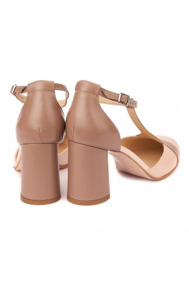 Sandale elegante din piele naturala cu toc gros 5291