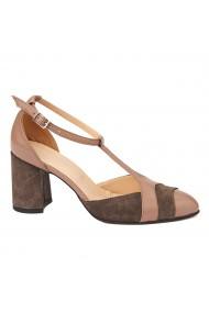Sandale elegante din piele naturala cu toc gros 5293
