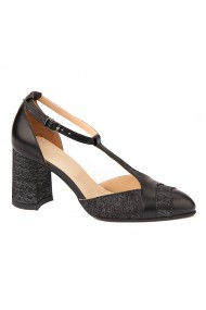 Sandale elegante din piele naturala cu toc gros 5298