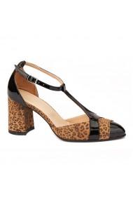 Sandale elegante din piele naturala cu toc gros 5299