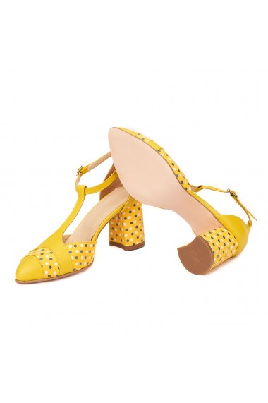 Sandale elegante din piele naturala cu toc gros 5300