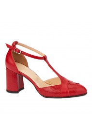 Sandale elegante din piele naturala cu toc gros 5301