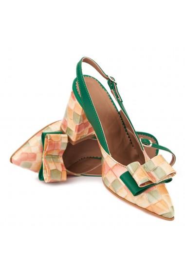 Sandale elegante din piele naturala cu toc gros 5305