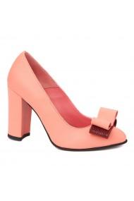 Pantofi dama roz flamingo din piele naturala 4263