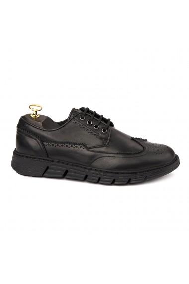 Pantofi casual din piele naturala neagra 1123