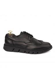 Pantofi sport casual din piele naturala neagra 1123
