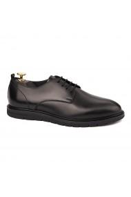Pantofi casual din piele naturala neagra 1122