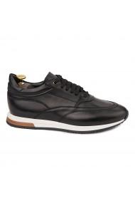 Pantofi casual sport din piele naturala neagra 1118