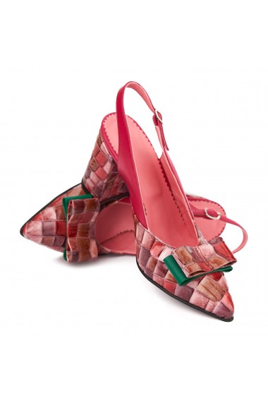 Sandale elegante din piele naturala cu toc gros 5311