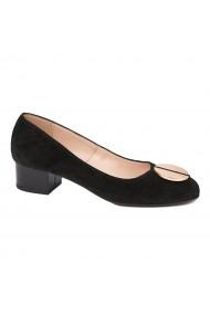 Pantofi dama din piele naturala cu toc mic 4554
