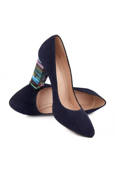 Pantofi dama din piele naturala bleomarin toc imbracat 4556