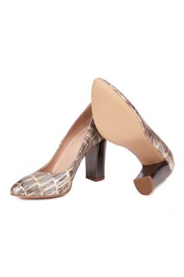 Pantofi dama din piele naturala nuanta aurie 4559