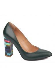 Pantofi dama din piele naturala verde inchis 4561