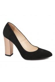 Pantofi dama din piele naturala neagra 4563