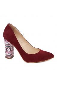 Pantofi dama din piele naturala bordo 4566
