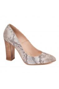 Pantofi dama din piele naturala cu tenta aramie 4587