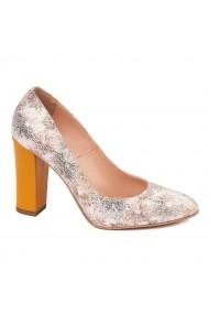Pantofi dama din piele naturala cu toc portocaliu 4588
