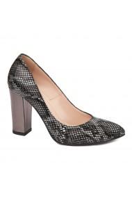 Pantofi dama din piele naturala cu tente gri 4571