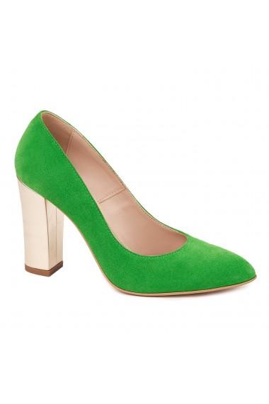 Pantofi dama din piele naturala verde 4590