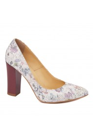 Pantofi dama din piele naturala model floral 4562