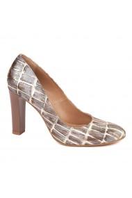 Pantofi dama maro din piele naturala cu model 4594