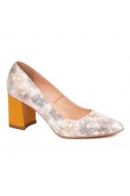 Pantofi dama toc gros din piele naturala cu model 4595