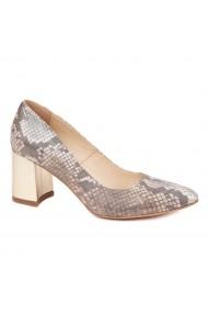 Pantofi dama toc gros din piele naturala cu model 4596