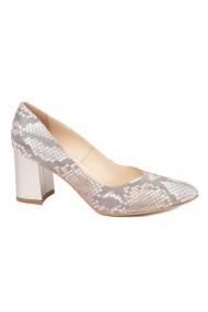 Pantofi dama toc gros din piele naturala cu model 4597