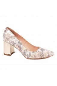 Pantofi dama toc gros din piele naturala cu model 4598