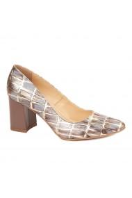 Pantofi dama toc gros din piele naturala cu model 4599