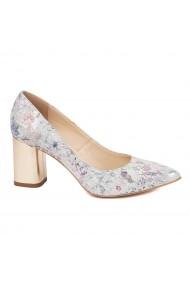 Pantofi dama toc gros din piele naturala cu model floral 4600