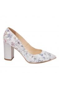 Pantofi dama toc gros din piele naturala cu model floral 4601