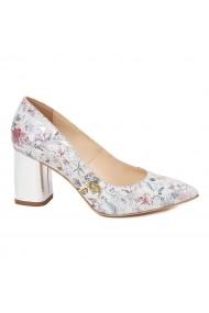 Pantofi dama toc gros din piele naturala cu model floral 4602