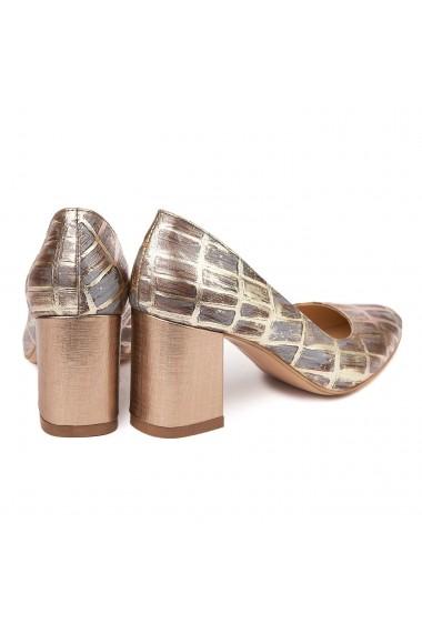 Pantofi dama toc gros din piele naturala cu model 4603