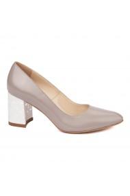Pantofi dama toc gros imbracat din piele naturala bej 4605