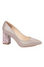 Pantofi dama toc gros imbracat din piele naturala bej 4606