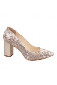 Pantofi dama toc gros din piele naturala bej 4607