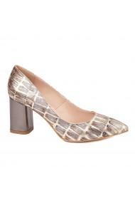 Pantofi dama toc gros din piele naturala maro 4608