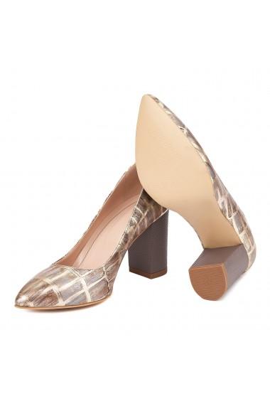 Pantofi dama toc gros din piele naturala maro 4609
