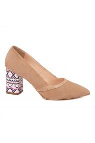 Pantofi dama toc gros din piele naturala bej 4612